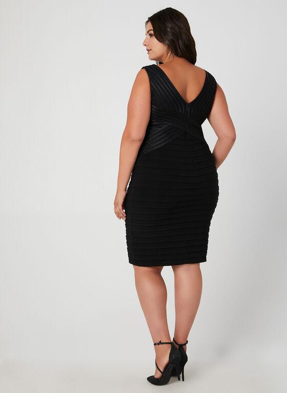 Plunging Neckline Cocktail Dress, Black, hi-res