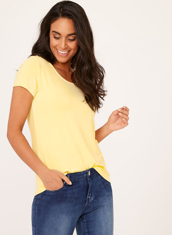 Short Sleeve Scoop Neck T-Shirt, Yellow, hi-res