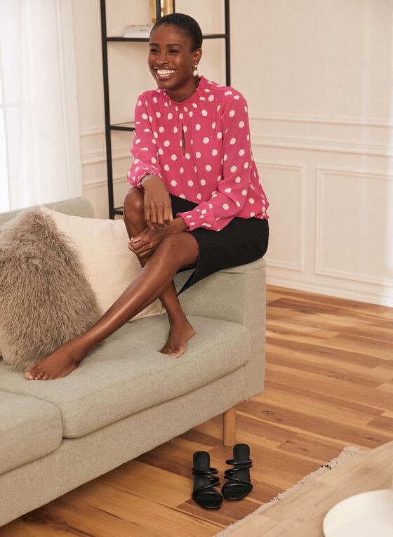 Polka Dot Print Smocked Neck Blouse, Pink