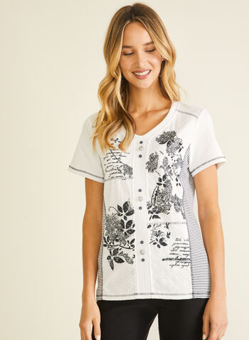 Mixed Print Cotton T-Shirt, White,  t-shirt, v-neck, floral, cotton, striped, short sleeves, cotton, spring summer 2020