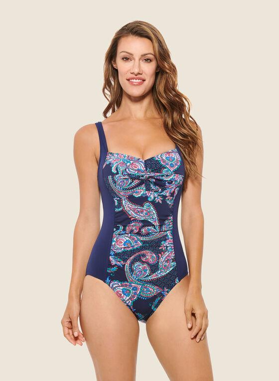 Christina - Paisley Print One-Piece Swimsuit, Blue