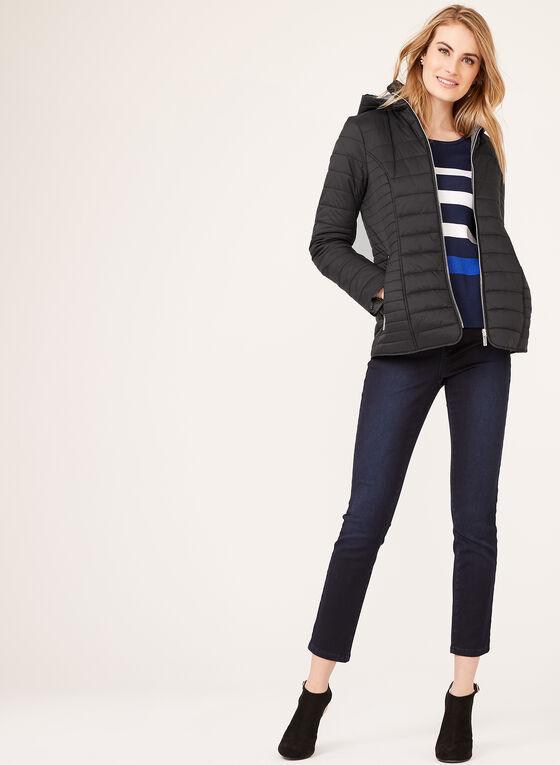 Hooded Lightweight Quilted Coat, Black, hi-res