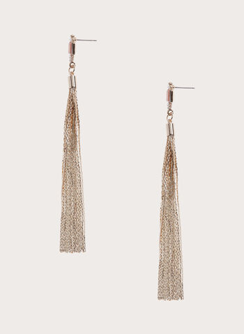 Crystal Top Metal Tassel Earrings, Pink, hi-res