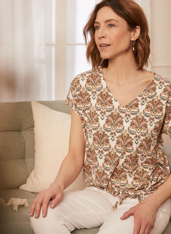 Paisley Print Top, Brown,  spring summer 2021, tops, tee, t-shirts, t shirts, v neck, knot detail, bow detail,