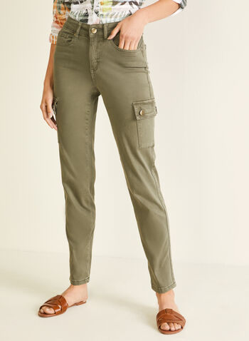 Slim Leg Cargo Jeans, Green,  jeans, cargo, slim leg, high rise, pockets, denim spring summer 2020