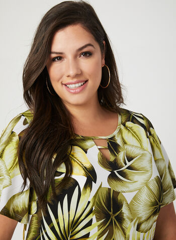Leaf Print Top, Green, hi-res