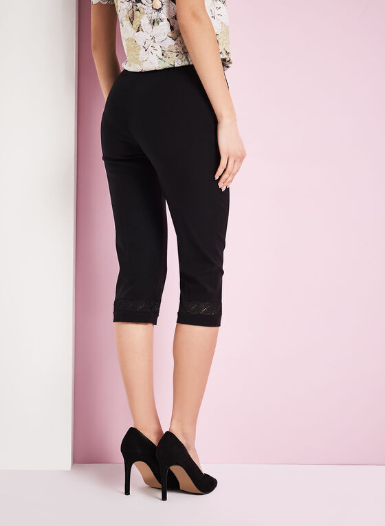 Modern Fit Lace Trim Capris, Black, hi-res