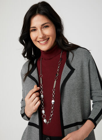 Open Front Knit Cardigan, Grey, hi-res,  cardigan, knit, open front, long sleeves, contrast trim, fall 2019, winter 2019