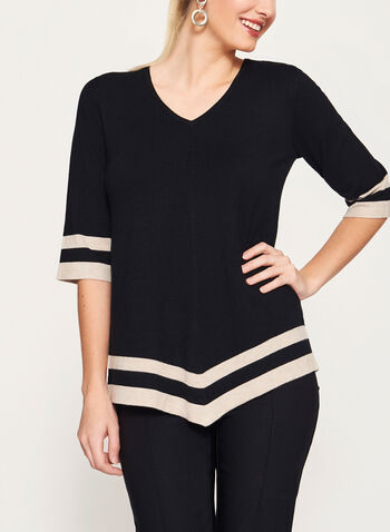 Stripe Print V-Neck Sweater, , hi-res