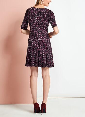 Elbow Sleeve Chevron Print Jersey Dress, , hi-res