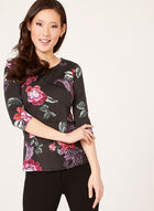 Romantic Floral Print Top, Purple, hi-res