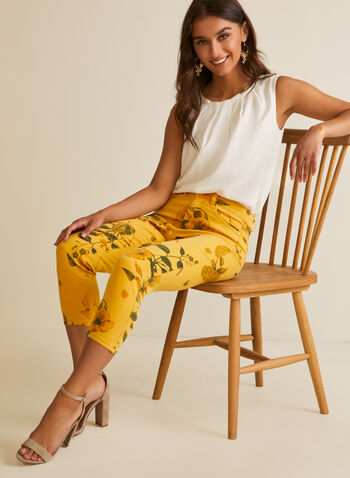 Floral Denim Capri Pants, Yellow,  capris, floral, pockets, denim, modern, slim leg, stretchy, spring summer 2020