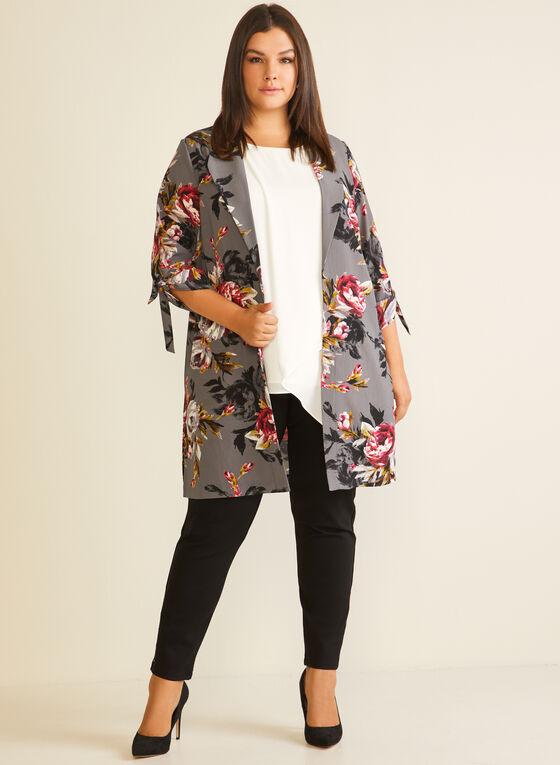 Floral Print Notched Collar Duster, Grey