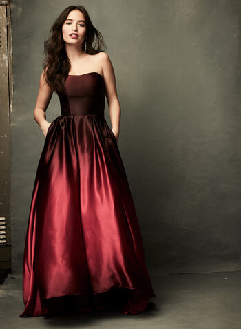 Ombré High-Low Satin Ball Gown, Red, hi-res