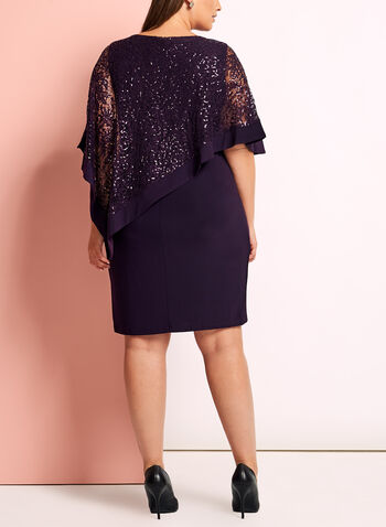 Sequin Lace Poncho Dress, Purple, hi-res