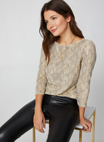 Sequin Snake Print Top, Multi,  canada, 3/4 sleeves, sequins, top, blouse, snake print, snakeskin print, metallic top, sequin top, holiday, fall 2019, winter 2019
