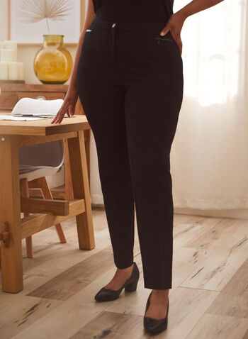 Pantalon coupe signature à détails similicuir, Noir,  automne hiver 2020, pantalon, coupe signature, jambe droite, cuir, similicuir, faux