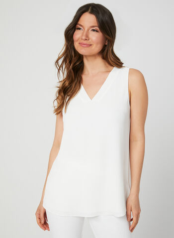 Sleeveless Crepe Top, Off White, hi-res,  stretch, stretchy, v-neck, summer 2019