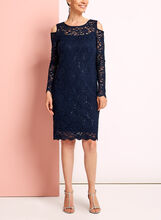 Sequin Lace Cold Shoulder Dress, Blue, hi-res