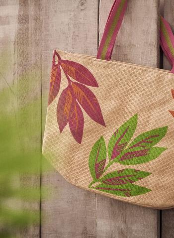 Tropical Motif Straw Beach Bag, Pink,  spring summer 2021, paper bag, straw bag, beach bag, tote bag, large tote, tropical leaf, tropical print, tropical motif, purse, bag, accessories