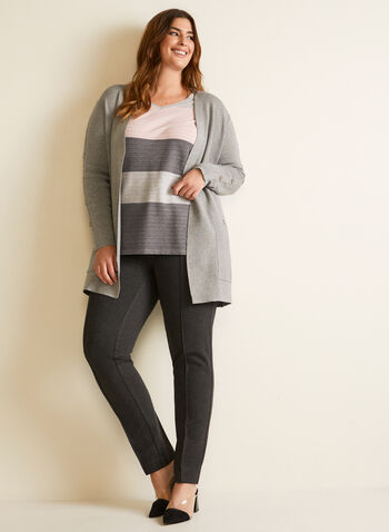 Button Detail Mid Length Cardigan, Grey,  cardigan, knit, open front, button detail, fall winter 2020