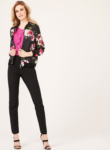 Satin Floral Bomber Jacket, Black, hi-res