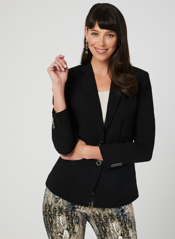 Notch Collar Blazer, Black, hi-res,