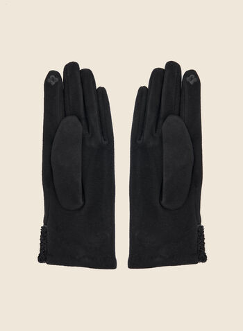 Button Detail Terry Knit Gloves, Black,  fall winter 2020, gloves, accessories, cotton,