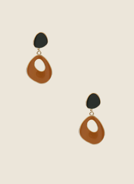 Tiered Abstract Dangle Earrings, Brown
