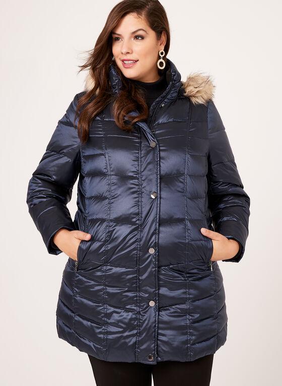 Manteau matelassé en duvet et plumes, Bleu, hi-res