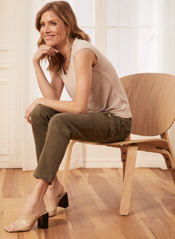 Jeans cargo à jambe étroite, Vert,  jeans, étroit, cargo, boutons, poches, denim, printemps été 2020
