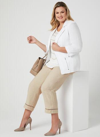 Pantalon à coupe moderne et jambe large, Blanc cassé, hi-res,  taille mi-haute, ceinture contour, lien à nouer, lin, printemps 2019
