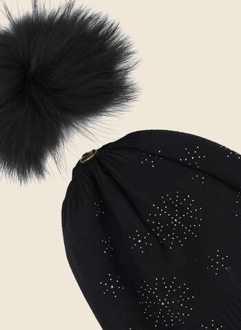 Snowflake Stud Detail Hat, Black,  fall winter 2020, pompom, removable, pom pom, fur, snowflake, stud, studded, thin knit