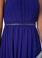 Robe empire à corsage plissé et col bijou, Bleu