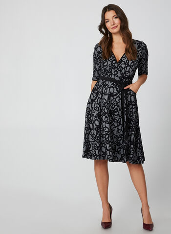 Jacquard Print Dress, Black,  dress, jacquard print, jacquard print dress, belt, flare dress, elbow sleeves, winter 2019, fall 2019