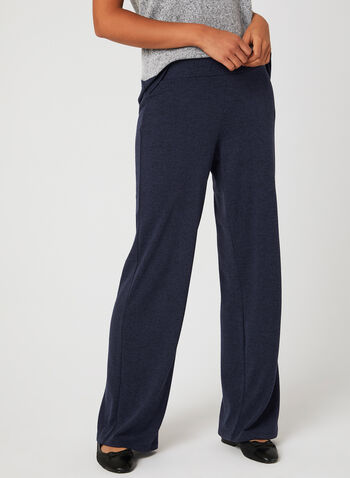 Wide Leg Knit Pants, Blue, hi-res