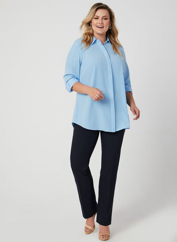 Contrast Stitch Long Sleeve Blouse, Blue, hi-res,  blouse, long sleeves, button down, collar, stretch twill, fall 2019, winter 2019