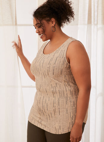 Sleeveless Jacquard Top, White,  top, sleeveless, scoop neck, jacquard, stripes, spring summer 2020