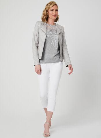 Ness - T-shirt avec découpes à l'encolure, Gris, hi-res,  manches courtes, fleurs, floral, palmier, hibiscus, printemps été 2019