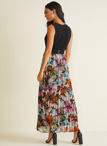 Robe maxi à jupe fleurie plissée, Noir,  robe de jour, maxi, ceinture, sans manches, jersey, mousseline, plissée, fleurs, printemps été 2020