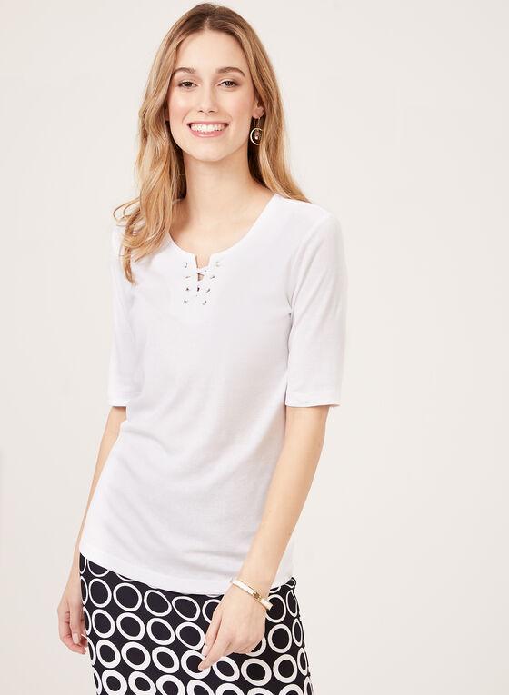 T-shirt à col lacet en coton, Blanc, hi-res