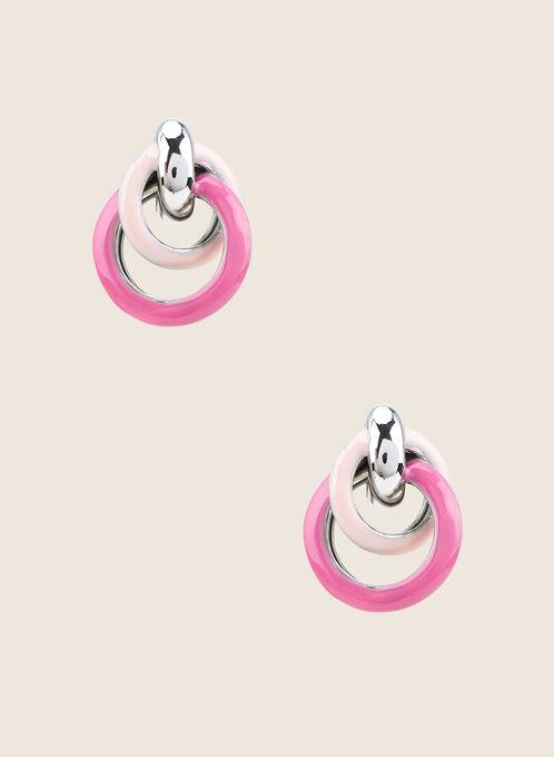 Boucles d'oreilles à anneaux entrelacés, Rose