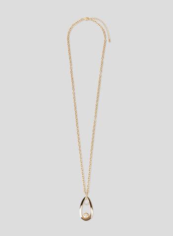 Teardrop Pendant Necklace, Off White, hi-res