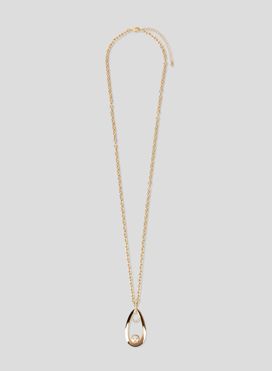 Teardrop Pendant Necklace, Off White, hi-res