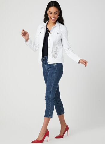 Veste en jean à broderies florales, Blanc, hi-res,  denim, printemps 2019