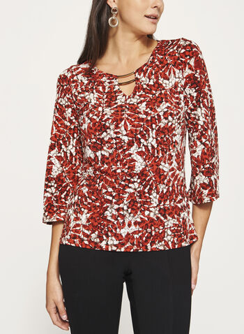 3/4 Bell Sleeve Jersey Top, Brown, hi-res