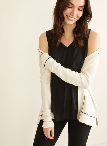 V-Neck Crepe Blouse, Black,  blouse, sleeveless, v neck, crepe, spring summer 2020
