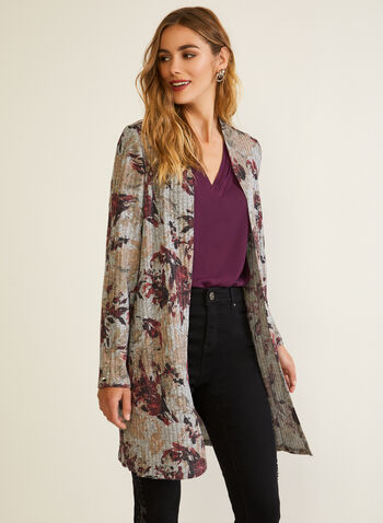 Floral Print Open Front Top, Purple,  fall winter 2020, top, open front, floral print, buttons, knit, ribbed