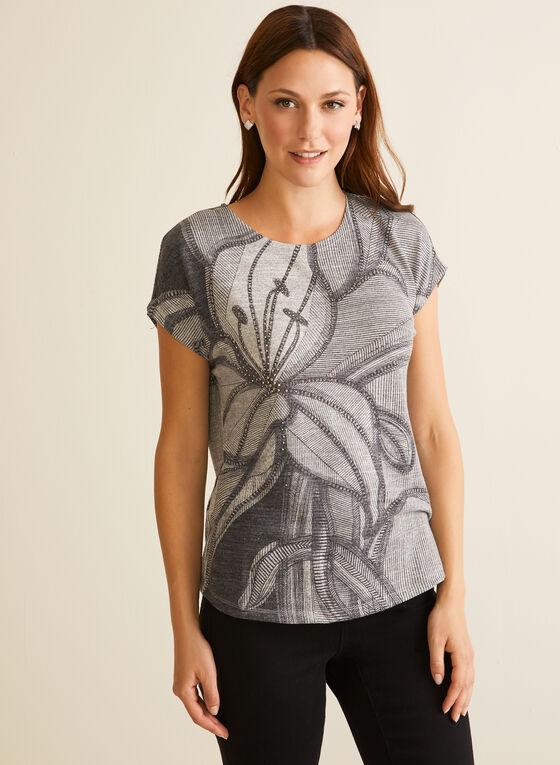 Rhinestone Detail Floral T-Shirt, Black