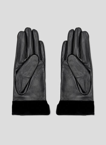 Suede Cuff Leather Gloves, Black, hi-res